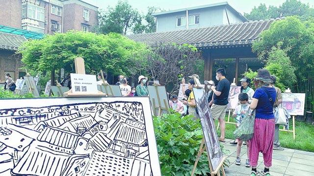 史家胡同流動美術館開幕,速寫作品引游客街坊駐足觀賞