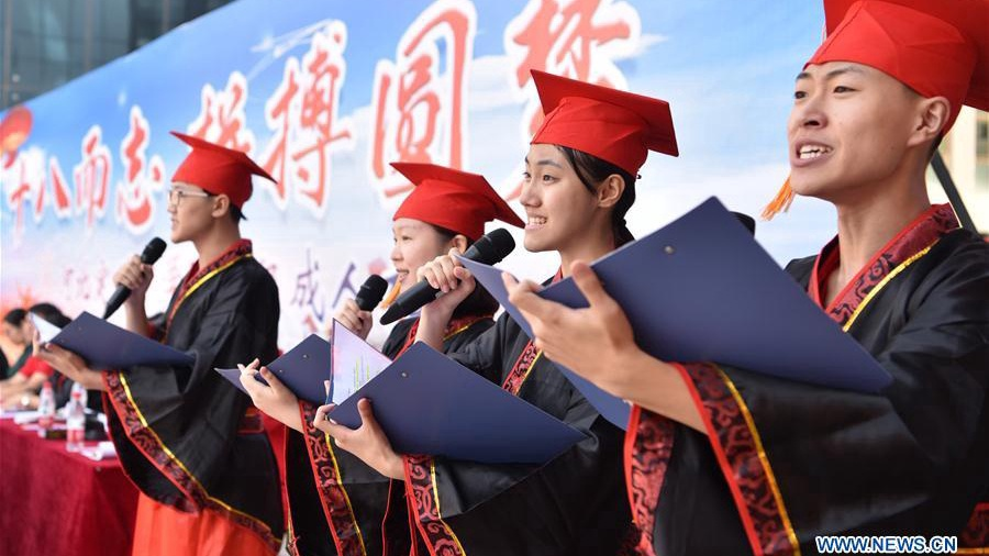 Collective coming-of-age ceremony held in middle school in China's Hebei