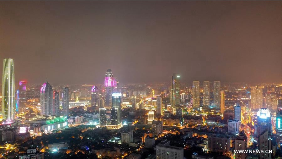 Night view of China's Tianjin