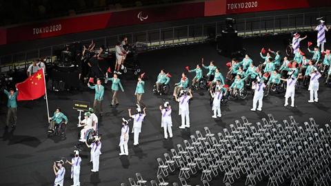 东京残奥会开幕式上,中国体育代表团150人参加入场仪式