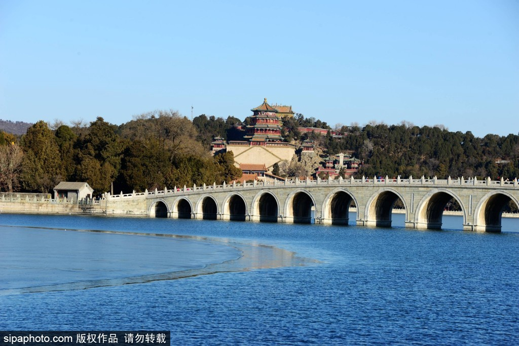 El Lago Kunming en el Palacio de Verano va descongelándose