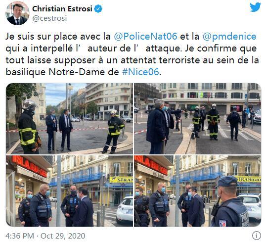 尼斯市长克里斯蒂安·埃斯特罗西推特截图
