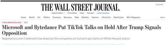《华尔街日报》:特朗普表示反对后,微软暂停与字节跳动关于TikTok的谈判