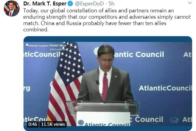 """美防长宣称""""中俄盟国加起来不到10个"""",被纠正:怕是美国没什么盟友了吧……"""