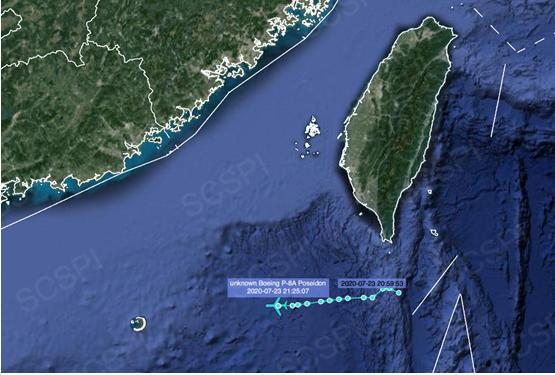 """""""南海战略态势感知计划""""平台大部的7月23日美军P-8A反潜巡逻机飞行路线"""