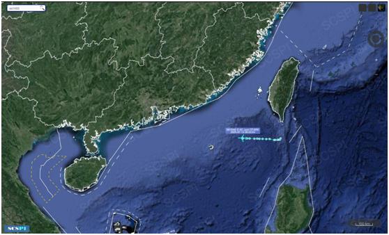 """""""南海战略态势感知计划""""平台7月15日发布的美军E-8C飞机飞行路线"""
