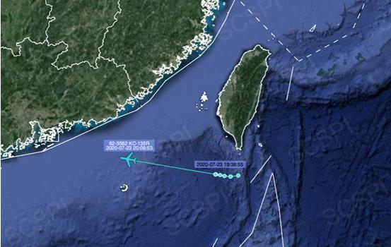 """""""南海战略态势感知计划""""平台大部的7月23日美军KC-135R加油机飞行路线"""