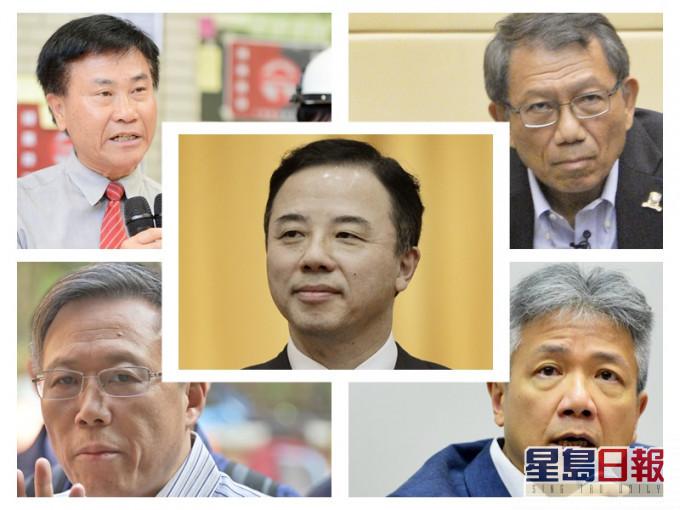 郑国汉(左上)、段崇智(右上)、张仁良(右下)、滕锦光(左下)、张翔(中)(图片来源:香港《星岛日报》)