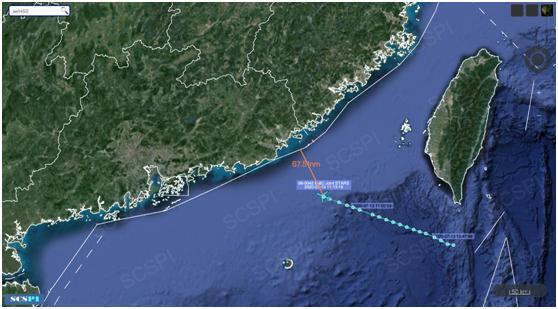 """""""南海战略态势感知计划""""平台7月13日公布的美军E-8C飞机飞行路线"""