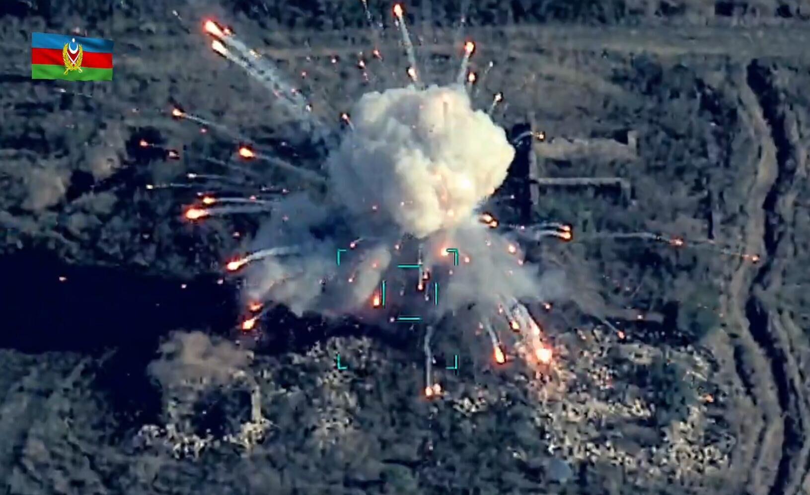 阿塞拜疆国防部公布的摧毁亚美尼亚军事目标的画面