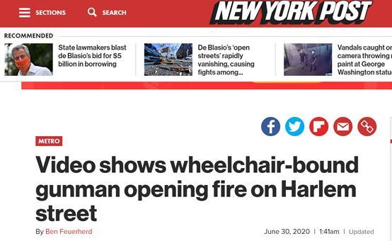《纽约邮报》:视频显示,坐在轮椅上的持枪歹徒在哈林区街道上开枪。